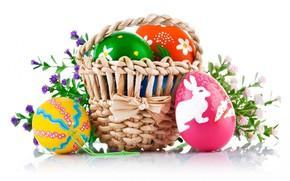 Картинка цветы, корзина, яйца, Пасха
