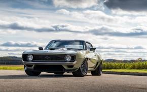 Картинка Дорога, Трава, Chevrolet, 1969, Camaro, Фары, Диски, Chevrolet Camaro, Muscle car, Classic car, Wide Body …