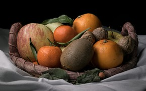 Картинка еда, апельсины, черный фон, натюрморт, овощи, разные, композиция