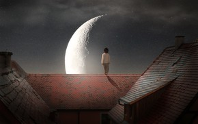 Картинка крыша, звезды, свет, ночь, город, луна, улица, романтика, один, спина, высота, ребенок, дома, мальчик, маленький, ...