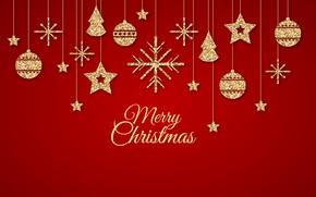 Картинка украшения, красный, фон, золото, узор, Новый Год, Рождество, golden, Christmas, background, pattern, New Year, decoration, …