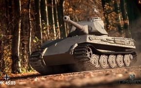 Картинка Осень, Тигр, Деревья, Германия, Танк, Deutschland, World of Tanks, Wot, VK4503, Tiger III