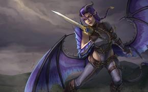 Картинка взгляд, девушка, крылья, меч, демон, хвост, рога, уши