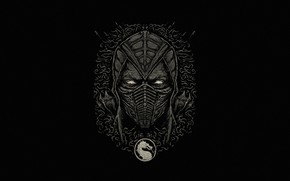 Картинка Минимализм, Стиль, Лого, Фон, Маска, Логотип, Боец, Art, Logo, Style, Mortal Kombat, Background, Helix, Minimalism, …