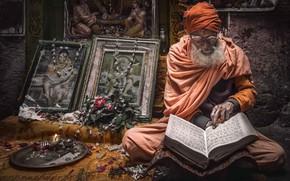 Картинка Portrait, India, sadhu