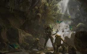 Картинка горы, птицы, лук, существа, Deep in the forest