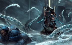 Картинка озеро, игра, человек, скафандр, воин, арт, монстры, существа, инопланетяне, Warframe