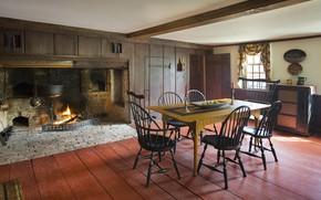 Картинка комната, интерьер, печь, столовая