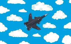 Картинка Облака, Минимализм, Самолет, Истребитель, Россия, Арт, Вид сверху, Су-47, ВВС России, ВКС, madeinkipish, Су 47, …