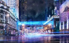 Картинка ночь, город, огни, арт, Music video concept, Iliya Klimov