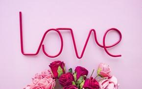 Картинка любовь, цветы, розы, love, розовый фон, pink, flowers, beautiful, romantic, roses