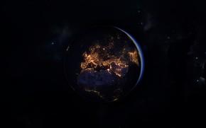 Картинка Ночь, Планета, Космос, Земля, Фон, Арт, Space, Art, Earth, Planet, Освещение, Planet Earth, Ian Smith, ...