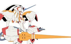 Картинка аниме, белый фон, копьё, Strelitzia, Darling In The Frankxx, Милый во Франксе, франкс, Стрелиция