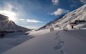 Картинка снег, горы, следы, Италия, Val Salarno