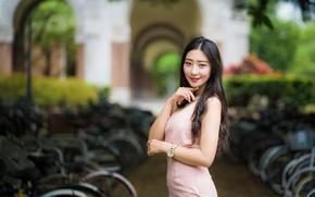 Картинка взгляд, девушка, улыбка, волосы, азиатка, милашка, боке