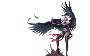 Картинка Girl, Fantasy, Art, Style, Background, Minimalism, Wings, Fallen angel, Figure, Character, ilsu jang