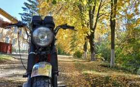 Картинка осень, листья, мото, юпитер