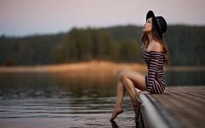 Картинка взгляд, девушка, природа, поза, река, платье, мостик, боке, Sergey Bidun