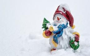 Картинка снег, Новый год, снеговик, фигурка