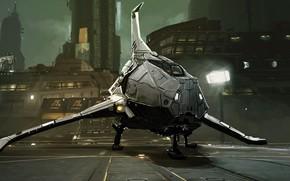 Картинка city, fantasy, science fiction, spaceship, sci-fi, digital art, artwork, building, fantasy art, futuristic, screens, KevArt