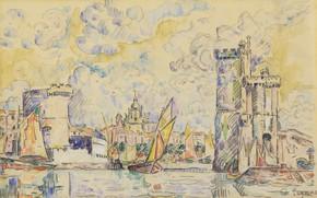 Картинка рисунок, акварель, Поль Синьяк, Порт Ла-Рошель, Paul Signac