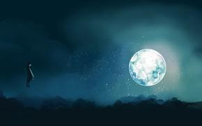 Картинка ночь, луна, фэнтези, девочка, парит