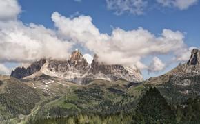 Картинка лес, небо, облака, пейзаж, горы, панорама