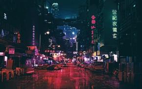 Картинка Ночь, Город, Будущее, Неон, Машина, Улица, Машины, City, Car, Cars, Night, Street, Neon, Автомобили, Вывески, …