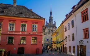 Картинка здания, башня, дома, Romania, Румыния, Clock Tower, Sighisoara, Часовая башня, Сигишоара