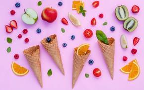 Картинка ягоды, colorful, фрукты, рожок, fruit, berries, cone