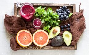 Картинка Коктейль, черника, поднос, авокадо, смузи