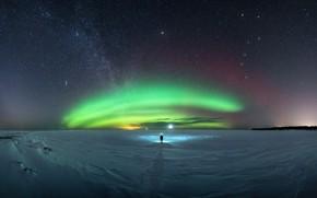 Картинка небо, звезды, человек, Млечный путь, aurora, sky, stars, man, Milky Way, полярное сияние