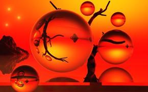 Картинка стекло, отражение, шары