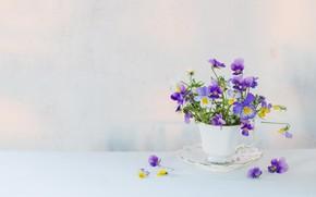 Картинка цветы, стол, чашка, виола, Maya Kruchenkova