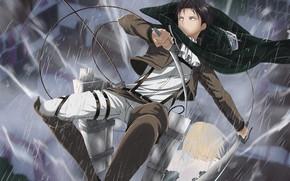 Картинка аниме, арт, Дождь, Парень, Shingeki no Kyojin, Атака титанов, Вторжение гигантов, Леви, Ривай