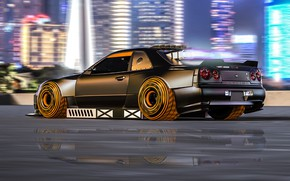 Картинка Авто, Машина, Тюнинг, Стиль, Car, Art, Фантастика, Science Fiction, Cyberpunk, Nissan Skyline R34, Transport & …