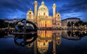 Картинка вода, город, отражение, здания, вечер, Австрия, освещение, храм, скульптура, архитектура, Вена, Карлскирхе