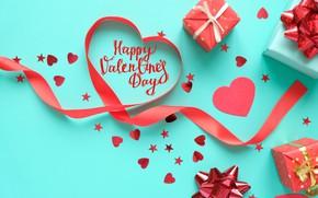 Картинка фон, голубой, лента, подарки, сердечки, день святого валентина