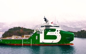 Картинка Море, Горы, Борт, Судно, Arctic, Вид сбоку, Bourbon, Vessel, AHTS, Offshore, Anchor Handling Tug Supply, …