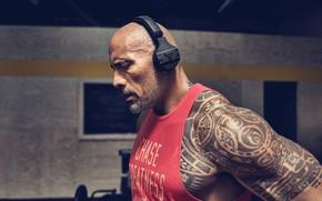 Картинка взгляд, поза, наушники, тату, татуировка, актёр, muscle, мышцы, рестлер, Дуэйн Джонсон, tattoo, Dwayne Johnson, атлет, …