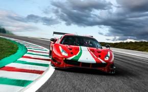 Картинка облака, поворот, Ferrari, спорткар, трек, Evo, GT3, 488, Ferrari 488