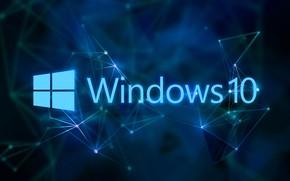 Картинка windows, синий фон, Windows 10