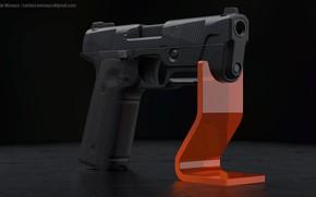 Картинка пистолет, оружие, gun, pistol, weapon, render, рендер, 3d art, ренденринг, hudson h9, хадсон х9