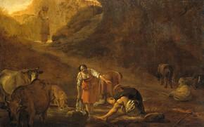 Картинка масло, картина, Питер ван Лар, 1642, Пастух и Прачка у Источника, Pieter van Laer
