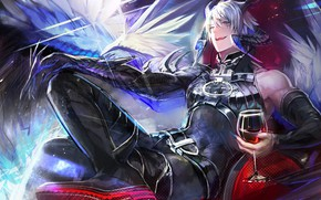 Картинка бокал, демон, рога, Shingeki no Bahamut Virgin Soul, Азазель, Ярость Бахамута невинная душа