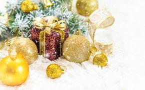 Картинка снег, украшения, Новый Год, Рождество, подарки, happy, Christmas, snow, New Year, decoration, gift box, Merry, …
