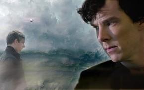 Картинка грусть, коллаж, самолёт, Шерлок Холмс, Мартин Фриман, Бенедикт Камбербэтч, Benedict Cumberbatch, Sherlock, Sherlock BBC, Джон …