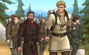 Картинка лес, эльф, меч, мужчина, борода, рюкзак, поход, отряд