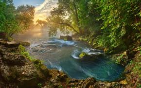 Картинка солнце, деревья, пейзаж, природа, река, камни, утро, Миссури, США, берега