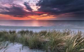 Картинка песок, море, трава, пейзаж, закат, тучи, природа, берег, Robert Kropacz